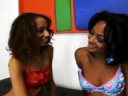Incredible black lesbians go down on each other then use dildos