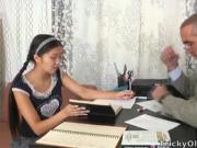 This Asian student is loving the attention from her tutor