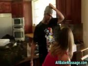 Massaged babe eats snatch