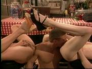 Lusty babes has wild threesome with stud in restaurant