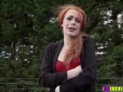Red head and horny Ella Hughes gets spotted and hammered by dude
