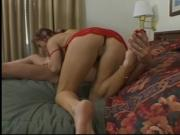 Redhead with perfect tits has her foot worshipped and fucked on hotel bed