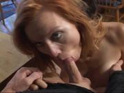 White whore with nice round tits gets her face fucked