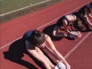 Track runners gets horny and wet while stretching