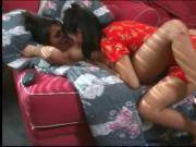 Slim Asian lesbians suck each other's wet meaty pussies