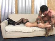 Blonde cocktease gets fucked hard on the couch