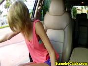 Petite masturbating hitchhikers public facial