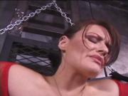 Mistress puts clips on her slave's nipples