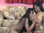 Sexy black whore gets her shaved pussy licked by hot friend