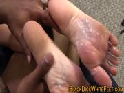 Hot babe gets feet fucked