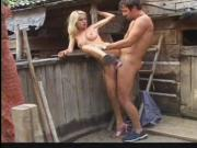 Nubile blond teenybopper drilled by man cock in the dirt