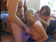 Lesbian girlfriends share one stiff cock