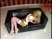 Blonde in striped leggings fingers solo