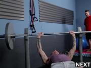 Silas penetrates Ashton from behind during gym training