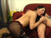 Ladyboy bimbo sucks cock and gets dick up her pooper