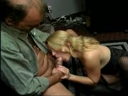 Sexy blonde in stockings gets her ass drilled by a hunk on the sofa