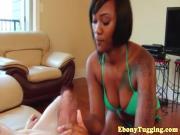 Handjob loving ebony bikini babe in cool pov