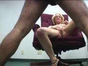 Naughty blonde gets to her knees and strokes a hard cock while gripping her tits