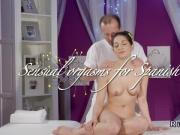Spanish hottie rides masseurs cock