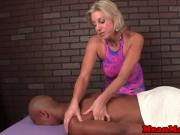 Smoking masseuse jerking pathetic client
