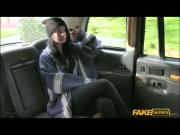 Horny Brunette Alessa takes a free ride in a fake cab