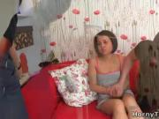 Emily is a young and sexy brunette who sits alone in her house in a sexy pink outfit