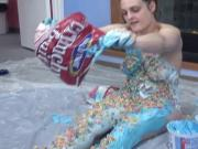 Randy bitch caressing her body with ice cream and cereal
