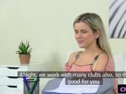 Lesbian agent muffdiving casting babe