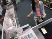 A sexy brunette Latina Lilly comes in the store to fuck for cash