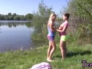 August and janice lesbian Hot lesbos having orgy at the lakeside