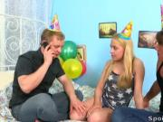Threesome defloration is the best present for virgin's birthday