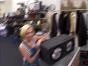 Gorgeous blonde woman tries to sell her speaker and gets hammered hard