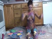 Teen with tattoos gets naked and paints her body
