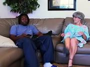 Horny gray haired granny gets her pussy licked and fucked by black stud