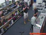 Pawnshop straight amateur sucks dick for crime