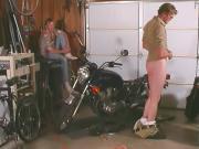 Gay stud jerks off in garage