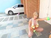Tranny car washing and banging outdoors