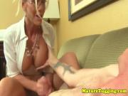 Spex cfnm milf tugging cock and licking balls