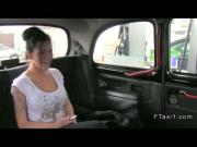 Busty British amateur rode huge dick in fake taxi