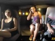 Babe with big tits gets boned by pervert guy in the car