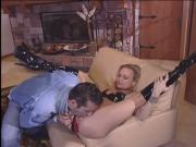 Girlfriend fucks boyfriend in the living room