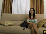 Casting newbie fucked by midget on couch