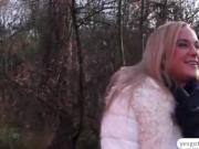 Public sex action with a european slut and a stranger