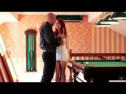 Hottie redhead Amarna Miller gets fuck hard by a bigcock in pooltable