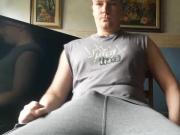 Veli-Matti Lohiniva stroking his hard fat cock