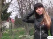 A hot babe Mona Kim in her amateur outdoor sex in exchange for cash