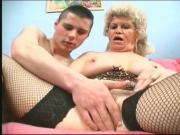 Corset wearing grandma finger-fucked by stud