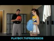 Slutty brunette cheerleader fucks the school basketball coach