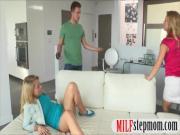 Sexy stepmom and teen bitch share on cum