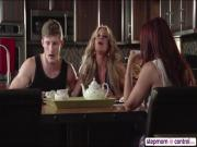 Horny MILF Farrah Dahl and Janet Mason shares cock in threesome play